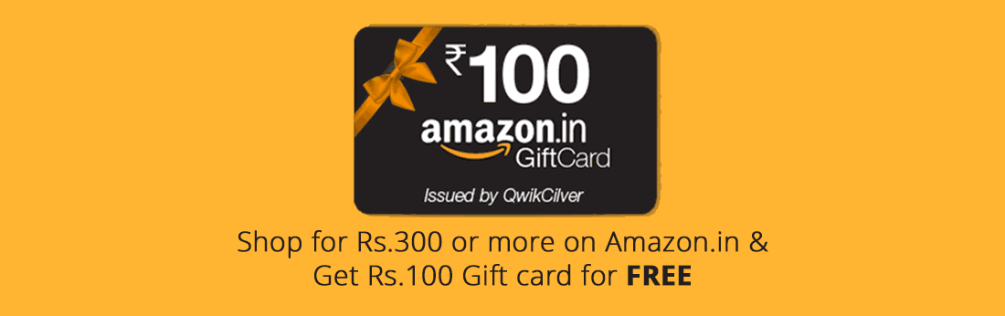 Shop for ₹300 on Amazon.in and get ₹100 Gift voucher